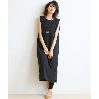 脇タックノースリーブワンピース (ワンピース)Dress