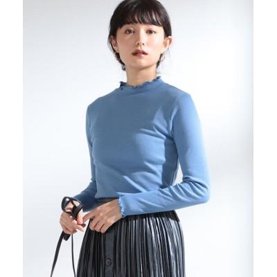 【ビームス ウィメン】 Ray BEAMS / テレコ メロー フリル ハイネック Tシャツ レディース ブルー ONESIZE BEAMS WOMEN