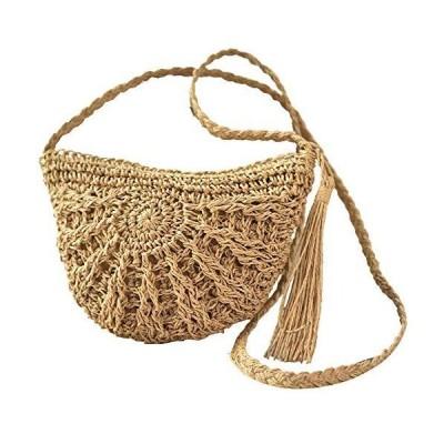 Women's Crossbody Bag Straw (brown)並行輸入品 送料無料
