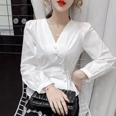 ブラウス レディース 長袖 白 オフィス 春 秋 40代 20代 トップス シャツ Vネック チュニック きれいめ おしゃれ 大きいサイズ 着痩せ 韓国風 大人 上品 OL 通勤