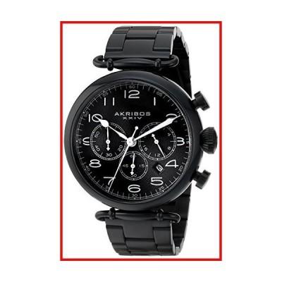 Akribos XXIV メンズ AK764BK クロノグラフ クォーツムーブメント 腕時計 ブラックダイヤル ブラックステンレ
