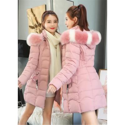 [55555SHOP] レディースファーフード付き小顔効果 コートジャケット ファーダウン棉フード 暖かい厚手コートアウター 棉服 軽量コート 中綿コート 防寒 ロングコート