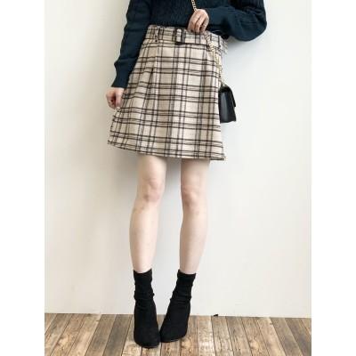 ベルト付き台形ミニスカート