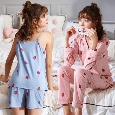 綿 パジャマ 7点セット ネグリジェ レディース 前開き長袖/ キャミ イチゴ パジャマ レディース 寝間着ランジェリールームウェア 部屋着 女性パジャマb