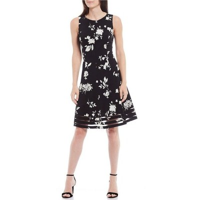 ジェシカハワード レディース ワンピース トップス Floral Print Jersey Illusion Hem Sleeveless Fit & Flare Dress