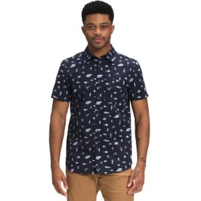 ノースフェイス メンズ シャツ トップス Short Sleeve Baytrail Pattern Shirt Aviator Navy Camp Tools Print
