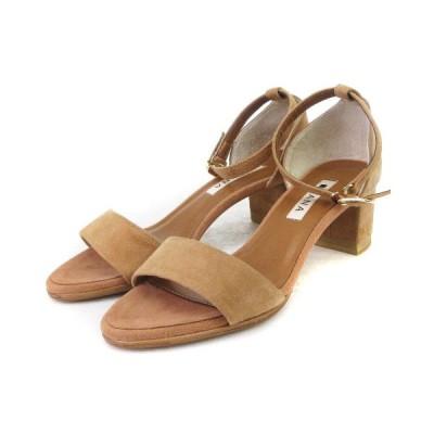 【中古】ダイアナ DIANA ストラップ サンダル スエード チャンキーヒール 茶 ブラウン系 22.5 靴 レディース 【ベクトル 古着】