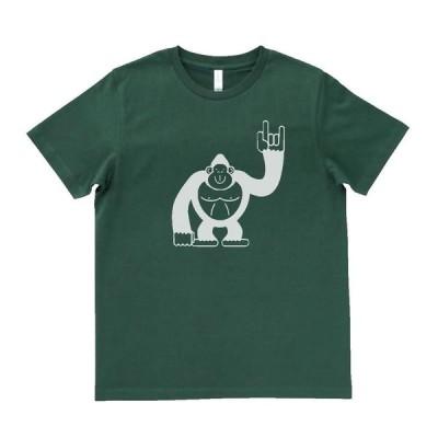動物・生き物 Tシャツ 動物 生き物 ゴリラ モスグリーン MLサイズ