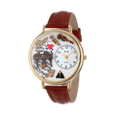 海外取寄品--音楽ピアノ 茶色レザー ゴールドフレーム時計 #G0510007