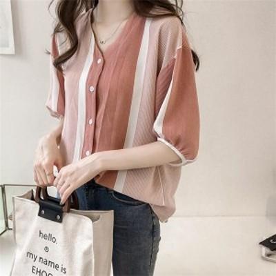 送料無料 レディースシャツ 韓国ファッション トップス 春夏新作 ブラウス ストライプ 7分袖 涼しい 麻