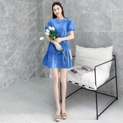 夏 ワンピース ミニワンピース ミニ丈 半袖 ブルー シフォン エレガント 安い 可愛い ドレス 大人可愛い