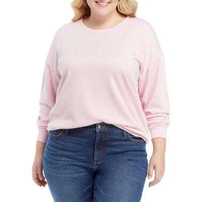 クラウン&アイビー レディース パーカー・スウェット アウター Plus Size Long Sleeve Terry Sweater