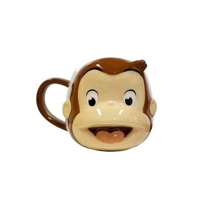 おさるのジョージ フェイス マグカップ 14688 マグ 食器 立体 3D ダイカット カップ コーヒーカップ 子ども こども キッズ フェイス型 キャラクター グッズ