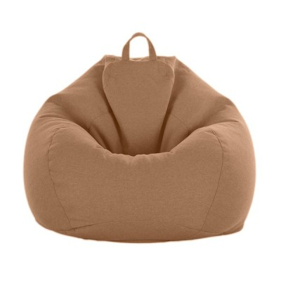 ソリッドカラー リネン ビーンバッグ カバー ソファカバー 伸縮性 約60 * 75cm 10色可選 - ブラウン