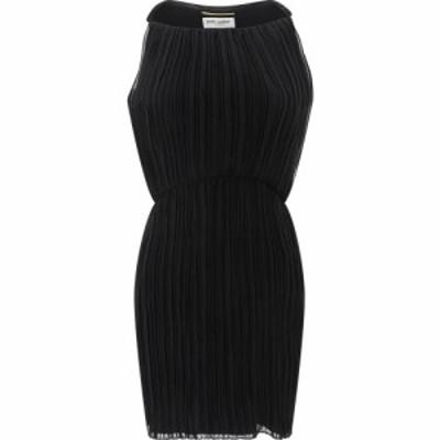 イヴ サンローラン Saint Laurent レディース ワンピース ミドル丈 ワンピース・ドレス Pleated Midi Dress Black