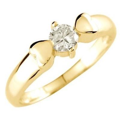 ピンキーリング ダイヤモンド リング 指輪 一粒 大粒 ハート イエローゴールドk18 18金 ダイヤモンドリング ダイヤ ストレート 送料無料