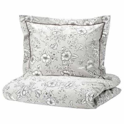 IKEA イケア 掛け布団カバー&枕カバー2枚 ライトグレー ホワイト ダブル 200x200cm n90449694 PRAKTBRACKA