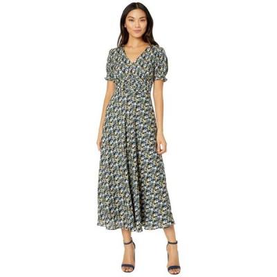 タハリ レディース ワンピース トップス Short Puff Sleeve Printed Midi Dress with Cinching Detail