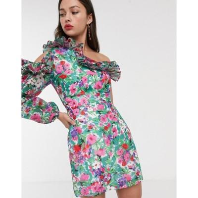 テルーラ レディース ワンピース トップス Talulah better together floral one shoulder mini dress in botanical bloom