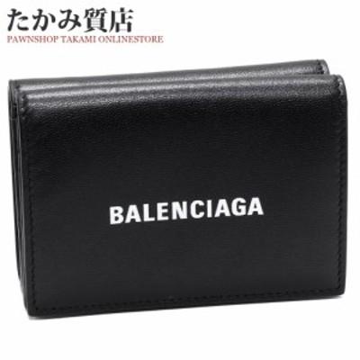 バレンシアガ CASHミニウォレット カーフ 黒 594312 1IZ 431090 三つ折り財布()