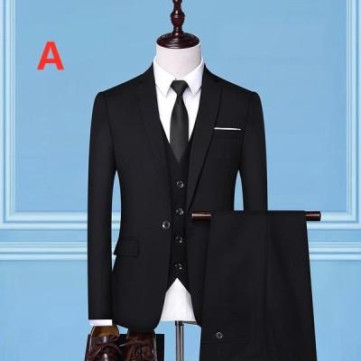 メンズ テーラードスーツ 2点セット ビジネススーツ 紳士服 無地 フォーマル スーツ セットアップスーツ スリム 忘年会 結婚式 通勤 カジュアルスーツ
