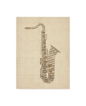 "Michael Tompsett Saxophone Old Sheet Music Canvas Art - 15"" x 20"""