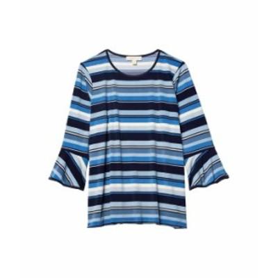 マイケルコース レディース シャツ トップス Plus Size Court Stripe Flutter Sleeve Top Chambray