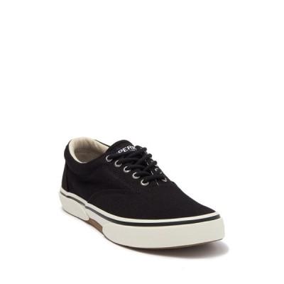 スペリー メンズ スニーカー シューズ Halyard Lace Up Casual Sneaker - Wide Width Available BLACK