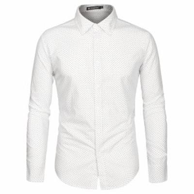 Allegra K メンズ シャツ 水玉 スリムシャツ 長袖 ボタンダウン カジュアル ビジネス 春 秋 ホワイトブラウン 34