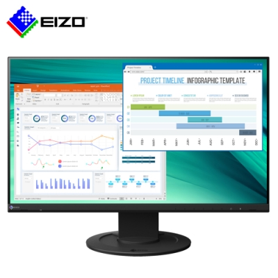 EIZO FlexScan EV2460 黑色 24吋/低藍光低閃頻護眼/薄邊框