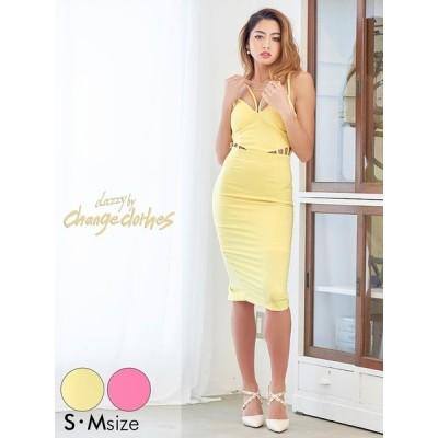 キャバ ドレス キャバドレス ワンピース ナイトドレス 胸元コード キャンディカラータイト ミニドレス S M ピンク 黄色 膝丈 シンプル ワン