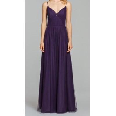 Hayley Paige ヘイリーペイジ ファッション ドレス Hayley Paige NEW Purple Womens Size 10 Pleated Tulle Sheath Dress