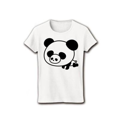 パンダ鼻ぱんだ リブクルーネックTシャツ(ホワイト)