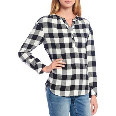 ウエストバウンド レディース シャツ トップス Petite Size Black Buffalo Check Print Y-Neck Popover Cotton Blend Shirt