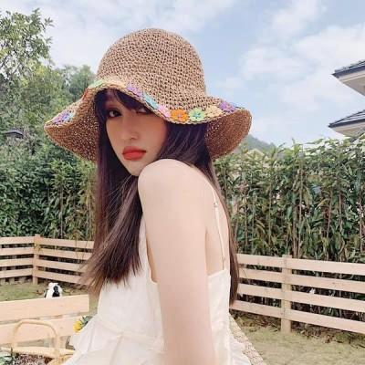 シンプル春夏ペーパーハット 麦わら帽子レディース 花柄折りたたみ 中折れ麦わら帽子ちょう結び 大きめ おしゃれ レディース帽子 パナマ帽 女優人気 小顔効果