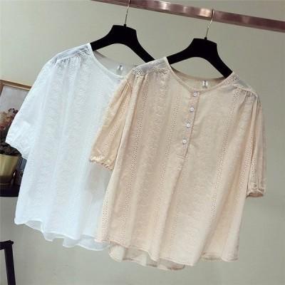 半袖トップス綿シンプル通勤OLきれいめVネック無地ゆったりきれい大人かわいいエレンガンシャツ単品高品質20代30代40代