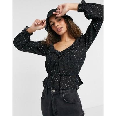 ブレーブソウル レディース シャツ トップス Brave Soul Gianina ruffle neck blouse in polka dot