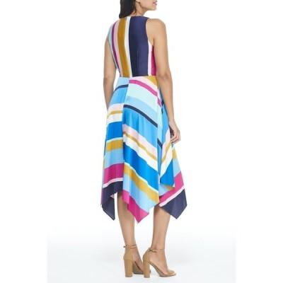マギーロンドン レディース ワンピース トップス Jewel Neck Stripe Print Tie Front Handkerchief Hem Dress SW/GOLD