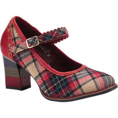 スプリングステップ レディース サンダル シューズ Emjayplaid Heeled Mary Jane Red Multi Plaid Fabric/Leather