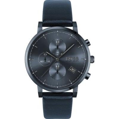 ヒューゴ ボス BOSS ユニセックス 腕時計 クロノグラフ Integrity Chronograph Leather Strap Watch, 43mm Black/Silver