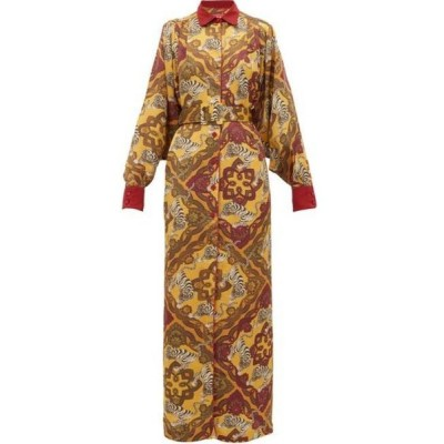 フォー レストレス スリーパーズ F.R.S For Restless Sleepers レディース ワンピース シャツワンピース Febo tiger-print belted satin-cloque shirtdress