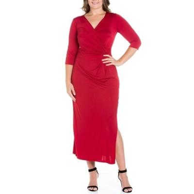 24セブンコンフォート ワンピース トップス レディース Women's Plus Size Side Slit Maxi Dress Burgundy