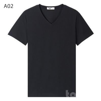 トップスTシャツ半袖Vネックメンズ無地カジュアル運動着シンプル部屋着吸汗速乾ジョギングクールスポーツトレーニングウェア