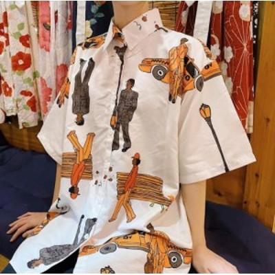 【取り寄せ】 レディース トップス 春夏 シャツ 半袖 総柄 シングルブレスト 折り襟 個性的 ゆったりシルエット 体型カバー 大きいサイズ