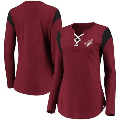 ファナティクス ブランデッド レディース Tシャツ トップス Arizona Coyotes Fanatics Branded Women's Iconic Long Sleeve Lace-Up V-Neck T-Shirt