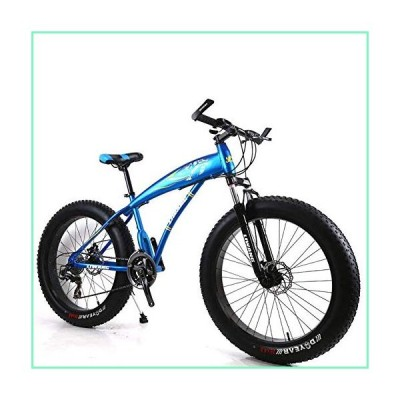 CDDZ Mountain Bike 7/21/24/27 Speeds Mens MTB Bike 24 Inch Fat Tire Road Bicycle Snow Bike Pedals with Disc Brakes and Suspension Fork,Blue,7Speed【