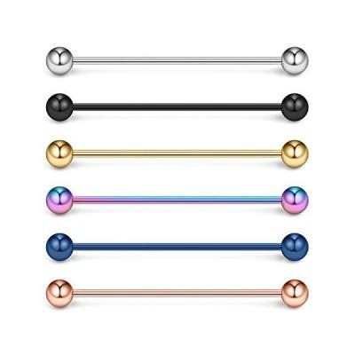 Ruifan 6PCS 16 Gauge Industrial Barbell Cartilage Earring Body Piercing Jew