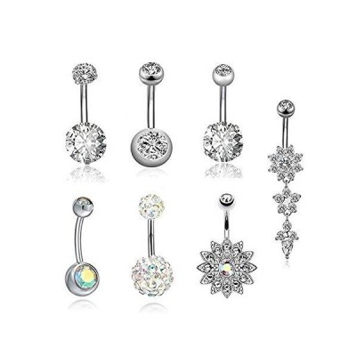 FFJGO 7PCS Dangle Belly Button Rings 14G Stainless Steel Navel Rings Curved