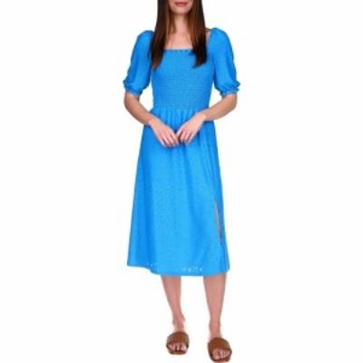 マイケル コース MICHAEL Michael Kors レディース ワンピース ミドル丈 ワンピース・ドレス Lace Puff Sleeve Midi Dress Bright Cyan B