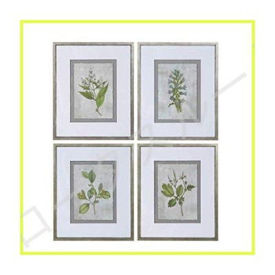My Swanky Home Set 4 Traditional Botanical Floral Prints | Green Leaves Silver Frame Gray White 並行輸入品